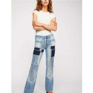 Free People Patchwork Flare Jeans 24 NWT